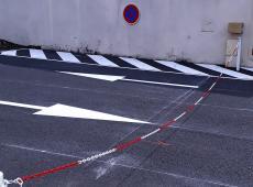Mise en place de marquage et butée de parking pour la boulangerie Au Pain Perdu de Monnaie (37).