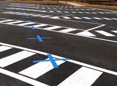 Marquages réalisés sur le parking du gymnase des Aigremonts de Bléré (37)