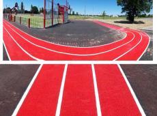 Réalisation d'une piste d'athlétisme dans une zone multisport d'Ingrande le Fresnier (49).
