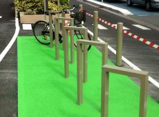 Marquage au sol en résine pour le parking vélo au Carrefour des Atlantes - St Pierre des Corps (37)